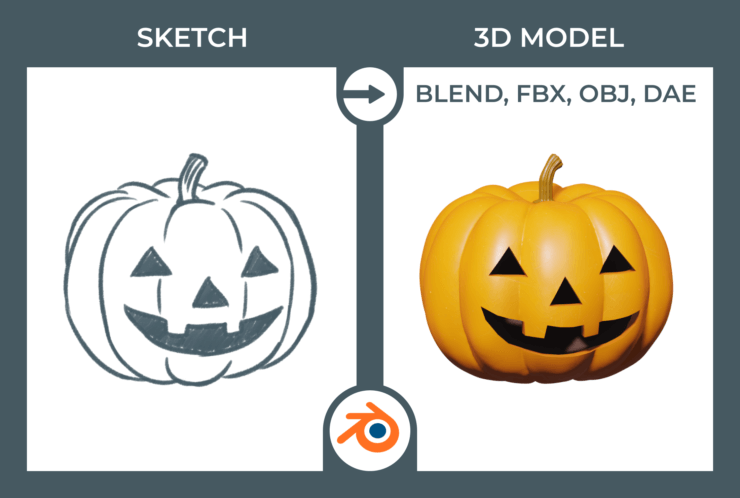 3D model in Blender - Pumpkin