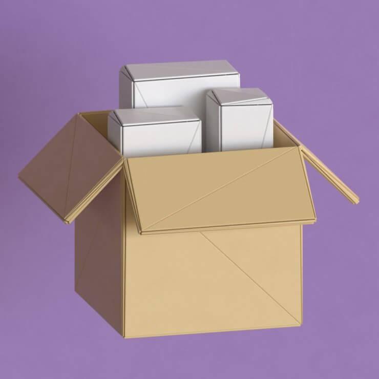 Box low poly 3d illustration