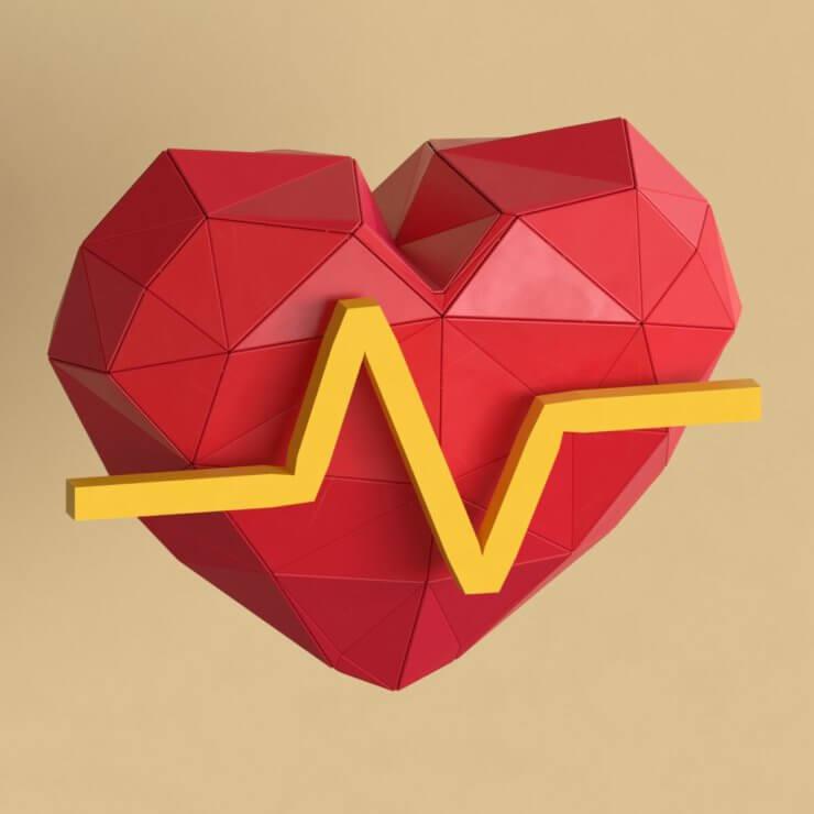 Cardiogram low poly 3d illustration