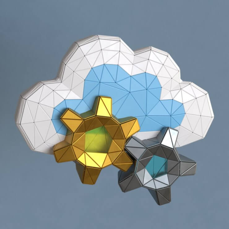 Cloud gears low poly 3d illustration (2)