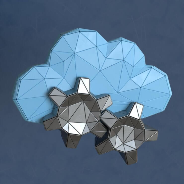 Cloud gears low poly 3d illustration