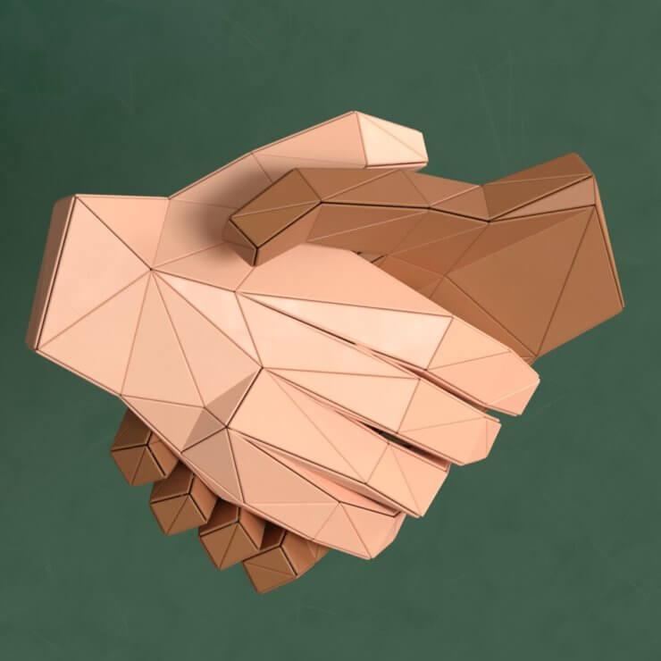 Handshaking low poly 3d illustration