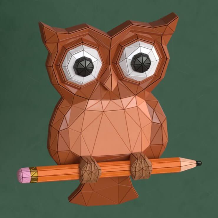 Owl low poly 3d illustration