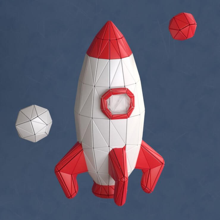 Rocket low poly 3d illustration