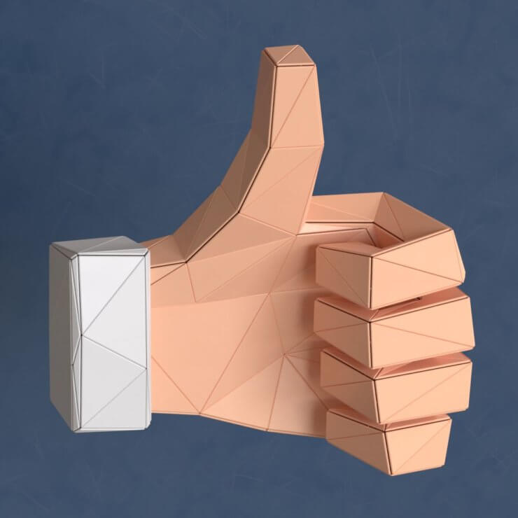 Thumbs up low poly 3d illustration