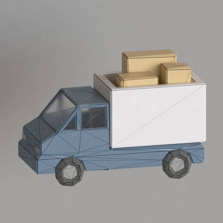 Truck low poly 3d illustration