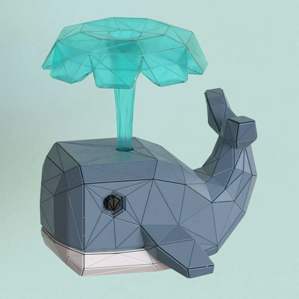 Whale low poly 3d illustration
