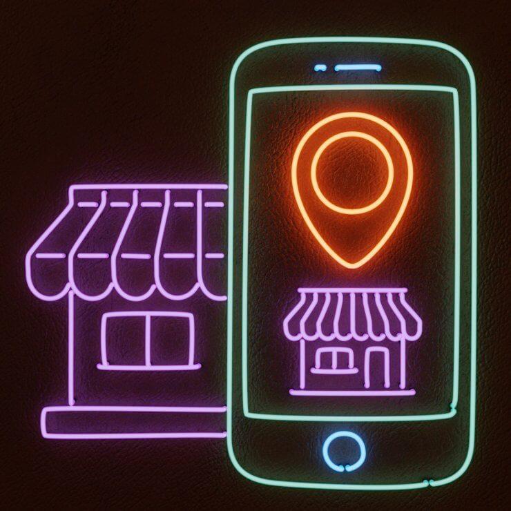 Geomarketing Neon Illustration