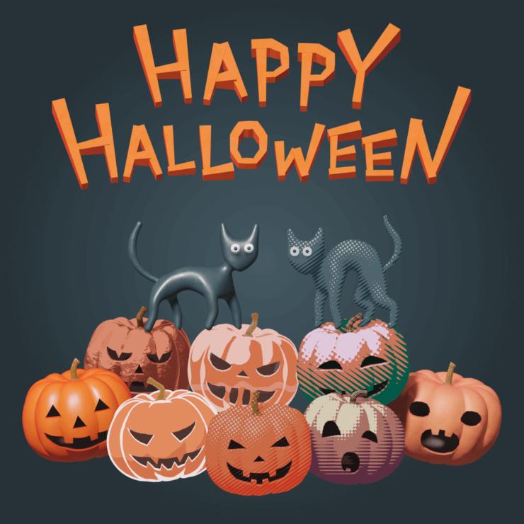 Happy Halloween (cats and pumpkins)