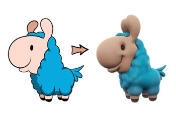 Loffy Llama drawing vs 3D