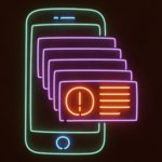 Mobile Push Notifications Neon Illustration