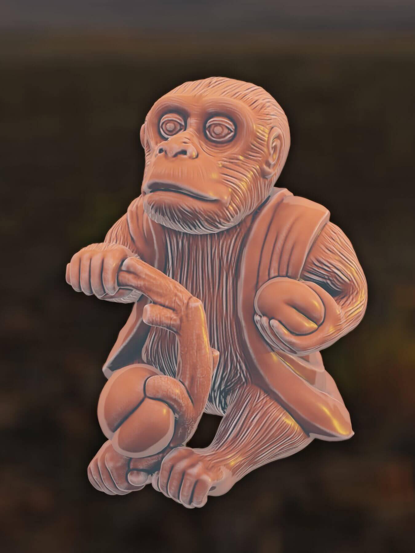 Monkey 3D model for 3D printing (3)
