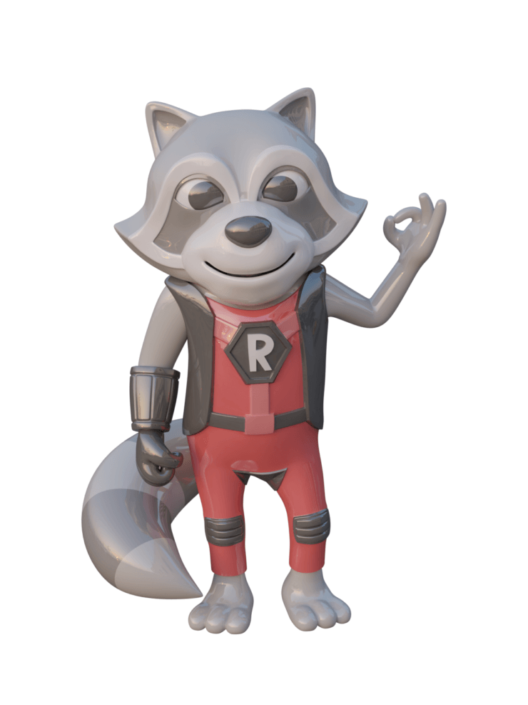 Refactoring Raccoon 3D OK - glazed ceramic