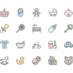 Set of Baby and Childhood line icons