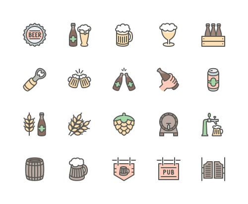 Set of beer and pub line icons