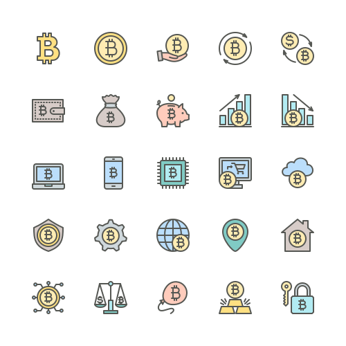 Set of Bitcoin line icons