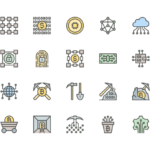 Set of Blockchain and Mining line icons