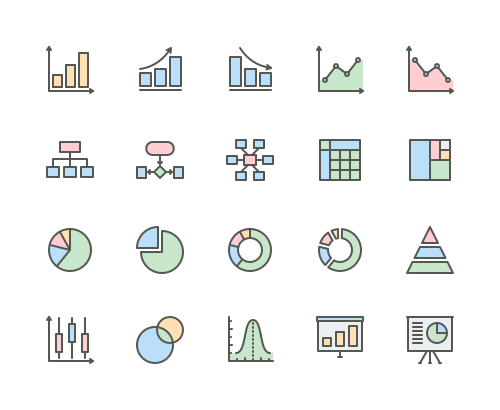 Set of Charts and Diagrams line icons