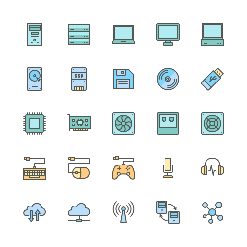 Set of Computer Components line icons