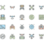 Set of Drone line icons