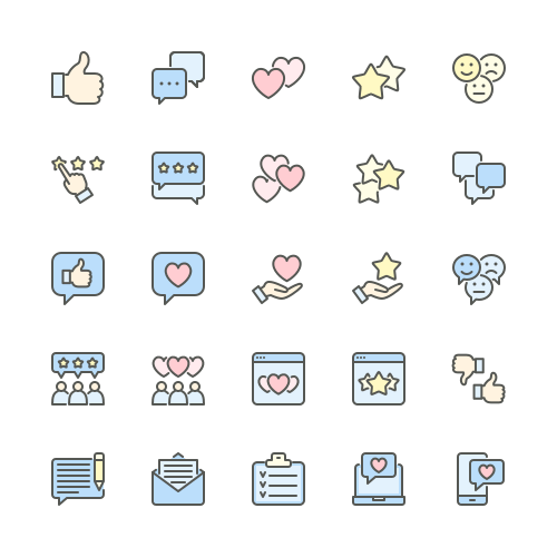 Set of Feedback line icons