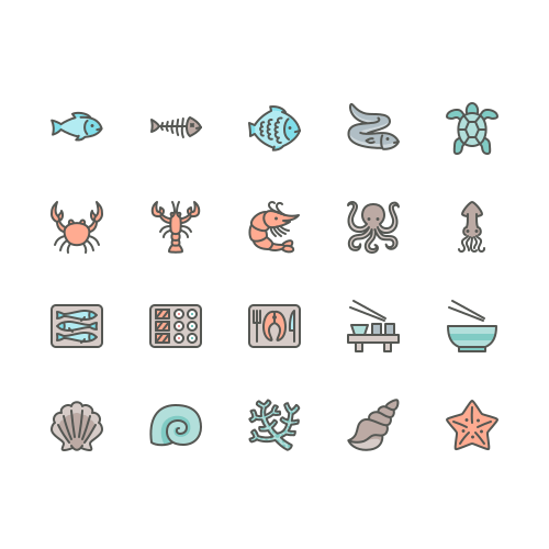 Set of fish and sea food line icons (featured)