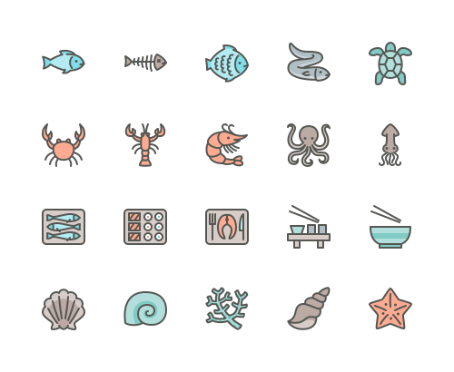 Set of fish and sea food line icons
