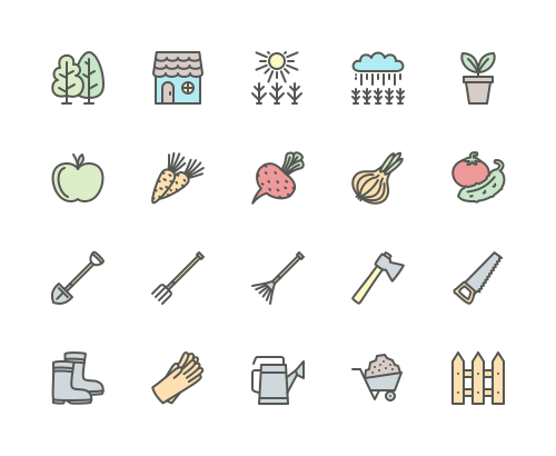 Set of gardening and garden tools line icons