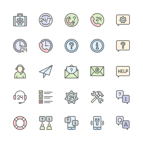 Set of Help and Support line icons