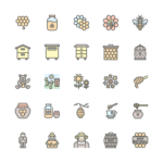 Set of Honey and Beekeeping line icons
