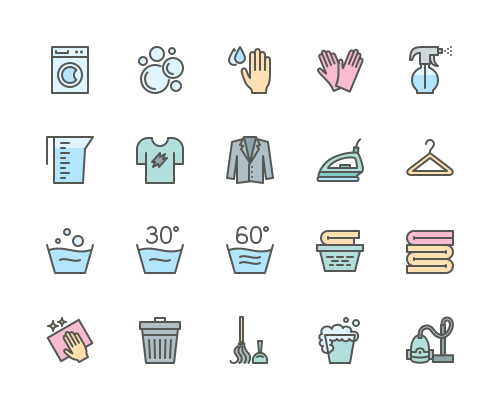 Set of Laundry and cleaning line icons