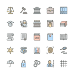Set of Law and Justice line icons