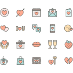 Set of Love and Valentine's day line icons