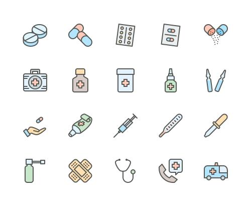 Set of Medicine drugs pills line icons