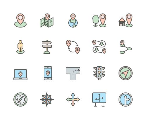 Set of Navigation line icons
