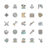 Set of Pirates line icons