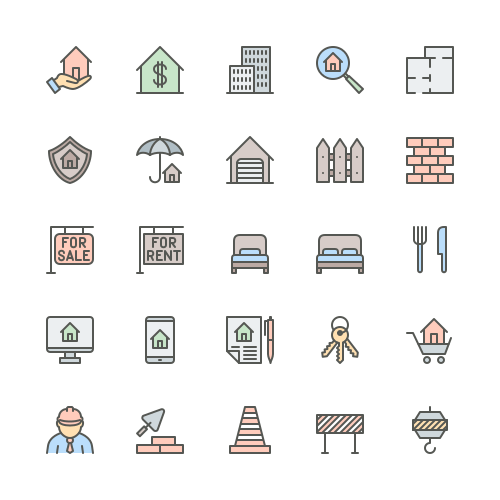 Set of Real estate and Construction line icons