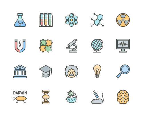 Set of science and research line icons