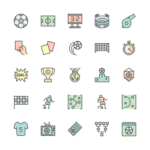 Set of Soccer line icons