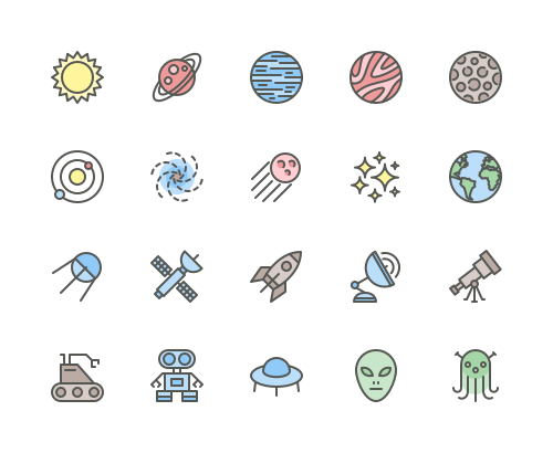 Set of Space and Planets line icons