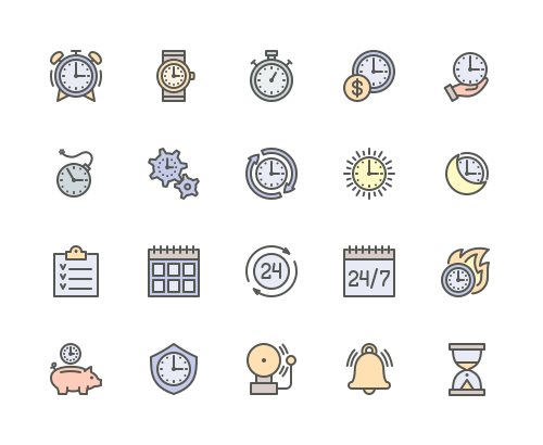Set of Time Management line icons