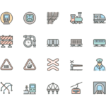 Set of Train, Metro and Railways line icons