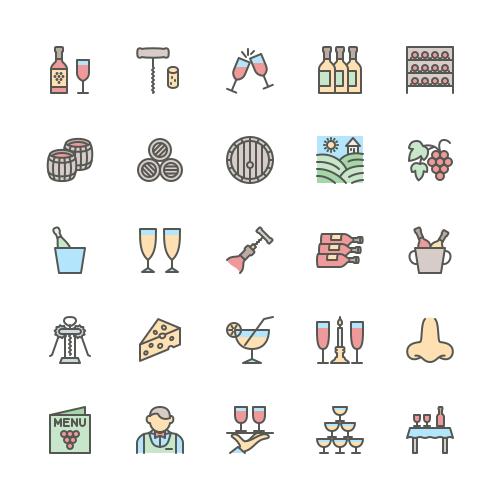 Set of Wine line icons
