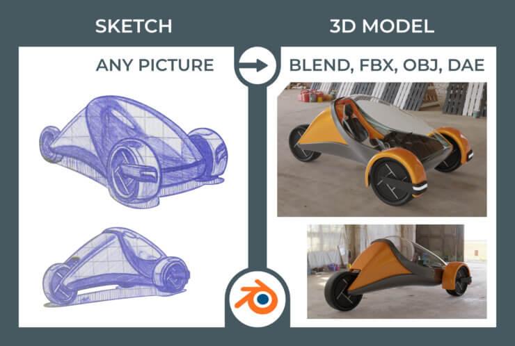 Trike 3D model from sketch