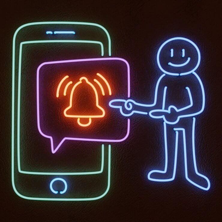 Web Push Notifications Neon Illustration